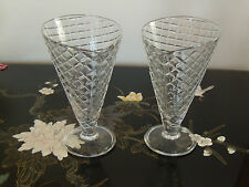 Waffle Cone Design Sundae/Parfait Glasses Set of Two  marked Made in Italy