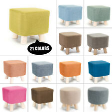 Soft Square/Round Fabric Cover Wooden Wood Footstool Ottoman Pouffe Chair Stool