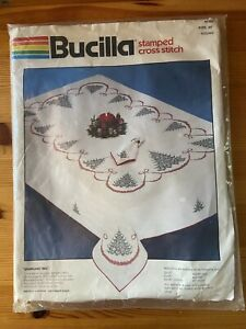 """Bucilla Stamped Cross Stitch Christmas Tablecloth Sparkling Tree 82305 ROUND 60"""""""