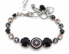 MARIANA Swarovski Crystal Silver Bracelet Black Rivoli & Pink 1073 Black Velvet