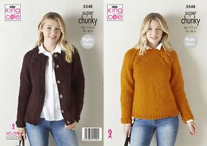 King Cole Ladies Super Chunky Knitting Pattern Raglan Sweater & Cardigan 5548