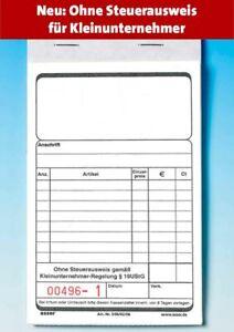 100 Kassenblocks D36/02/06 für Kleinunternehmer