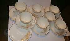 VINTAGE 14 PC Golden Wheat 22kt GOLD Plates Saucers and Tea Cups Oven Proof-Used