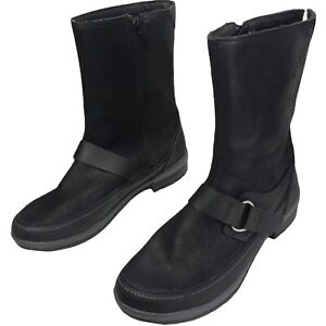 MERRELL Donatella Black Leather Mid Calf BOOTS Knit Top Sz 9 Waterproofing