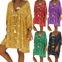Boho Floral Print Dress Women Long Sleeve Deep V-Neck Holiday Beach Shirt Dress