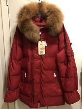 Alpha Industries Men's Red N-3B Echo Elite Fur Hooded Puffer Parka Jacket Size M