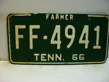 1966 Tennessee License Plate   FF - 4941   FARMER      Vintage  as5161