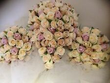 IVORY ORCHID PINK CHAMPAGNE & DIAMOND PACKAGE 8 PCE WEDDING BOUQUET SILK FLOWERS