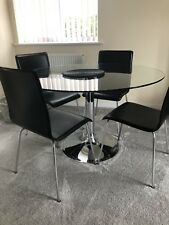 Round Glass Dining Table With 5 Chairs