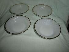 LOT OF 4 Vintage ANCHOR HOCKING Dessert Berry Bowl Swirl White Glass Gold Trim