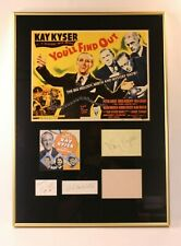 VTG Kay Kyser Auto Signature You'll Find Out Movie Boris Karloff Poster Framed