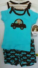 Infant Newborn 3pc Outfit Set Monkey Cars Turquois Brown Shorts Tank Top TShirt