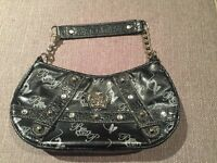 Black Patent Leather Baby Phat Purse Small Handbag Clutch Studded