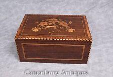 Antique Cigar Box 1930s Marquetry Inlay Trinket Jewellery Case
