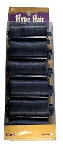 Hype Hair Black Satin Foam Rollers Curlers for Women of Color 12 Pack New