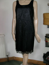 BHS black lace blue satin dress layer wiggle party formal smart sexy 14 M L