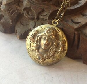 Vintage Necklace Vintage Locket Art Nouveau Jewelry Goddess Pendant Liliana