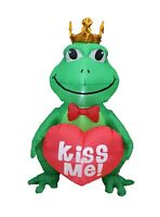 4 Foot Tall Valentine's Inflatable Decoration Air Blown King Frog Heart Kiss Me