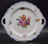 Carl Thieme Dresden Flowers German Embossed Blue Swirl Rim Cake Plate