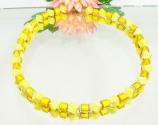XL Kette schimmernde MIRACLE WALZEN Mais Würfel diagonal opac gelb 50 cm 360f