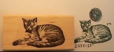 "P14 Cat sleeping rubber stamp 2.75x1.5"" WM"