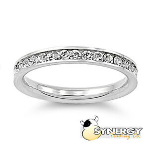 Stackable Stainless Steel Clear CZ Eternity Promise Ring Size 3 4 5 6 7 8 9 10