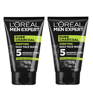 NEW L'Oreal Paris Men Expert Pure Charcoal Purifying Daily Facial Wash 100ml x 2