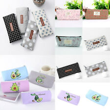 Pencil Case Big Grid Dot Capacity School Cute Pen Pouch Makeup Box Storage Bag