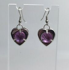 Pale Pink Heart Earrings Faceted Acrylic Stones Hooks E037 Valentines Love