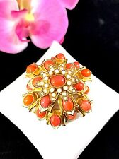 RARE 60'S KENNETH LANE K.J.L CORAL CABOCHON SEED PEARL MOGHUL INDIA STYLE BROOCH