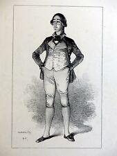 Lithographie GAVARNI Portrait Acteur Théâtre ALCIDE TOUSEZ Caboche Grégoire & C