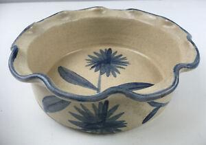 "1990 Pottery Casserole Blue/Cream Signed Fletcher 7.5""x2.5"" Floral Dog Bowl? Vtg"