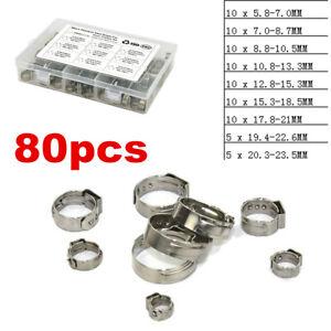 Single Ear O Clips Insert Stepless Inner Ring Hose Clamps 5.8-23.5mm Kit 1Set