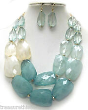 Beaded Turquoise Ombre Gradiated Faceted Pebble Bead Statement Necklace