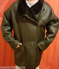 MANTEAU JACQUES JEKEL 100% CUIR MOUTON FOURRURE  NOIR T- 44/46 VESTE COAT FUR
