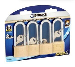 BRINKS LOCK PADLOCK 4 PACK- 40MM LONG SHACKLE  BRASS-BLOW OUT SALE