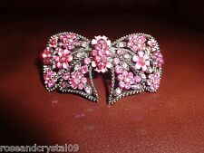 CUTE BOW~PINK~ SHINY AUSTRIAN CRYSTAL SILVER TONE BARRETTE~FOR ANY OCCASION