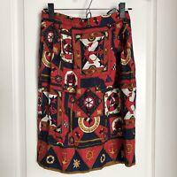 TALBOTS Woman's 100% Pure Silk Nautical Gold Chain Skirt Vintage Sz 8