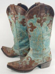 Lane Dawson Women's Cowboy Boots Size 7A Turquoise & Brown Leather Fancy! NARROW