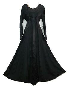 Boho Maxi Dress Winter Festive BLACK Long Sleeve Corset Medieval Embroidered