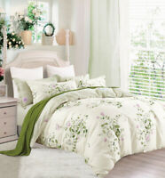 Full Size Cream-Green Cotton Bedding Set:1 Duvet Cover & 2 Pillow Shams (783)