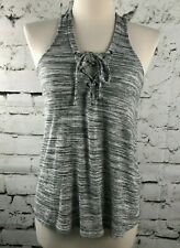 Hollister Womens Grey & White Cropped Racerback Tank Top Tie Front Size X-Small