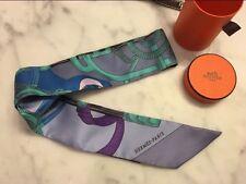 Hermes Twilly Rare Blue Purple 100% Silk