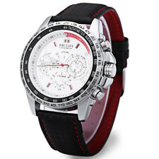 Megir M1010 Male Quartz Watch Leather Strap Sports Analog Wristwatch 3atm Gift Black