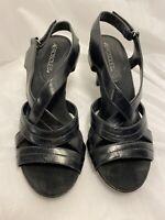 Aerosoles Wrote About Open Toe Slingback Sandal Heels Size 7M Black *H