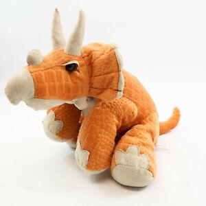 "Animal Adventure Prehistoric Orange Tan Triceratops Stuffed Plush Dinosaur 14"""