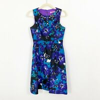 Eliza J Jeweled Beaded Neckline Dress Size 4 Fit Flare Blue Purple Sleeveless