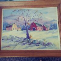 Vintage H.G. Daniels New England Winter Farm Landscape Oil Painting BIN OBO FS
