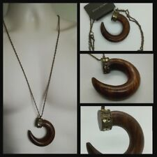 85954457bfa River Island Wood Indian Tusk Statement pendant Chain Necklace Embedded  Stones
