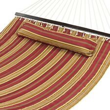 Double Hammock 2 Person Backyard Patio Pillow Comfort Sturdy Wood Spreader Bar